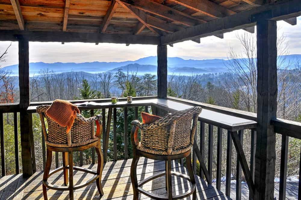 mountain view from deck of smoky mountain cabin rental