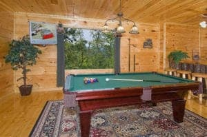 pool table in 2 bedroom cabin